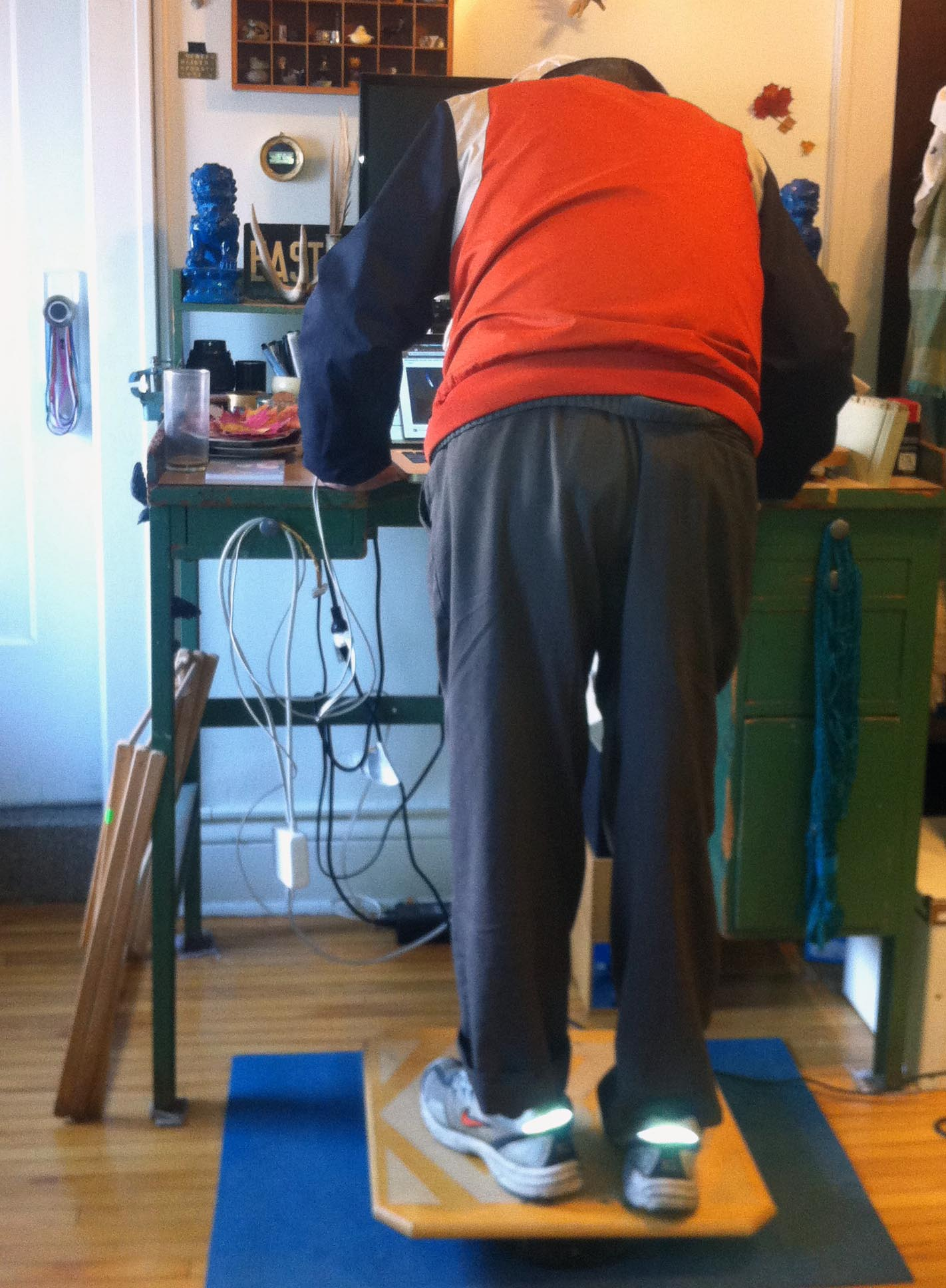 Tank balancing on the balance board at a standing desk.